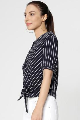 Womens Regular Fit Round Neck Stripe Top