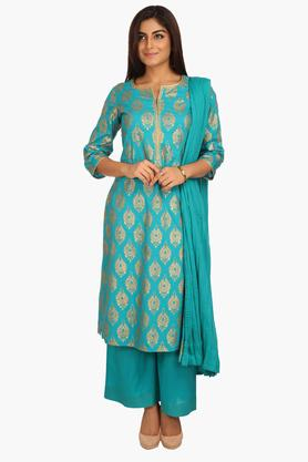 BIBA Women Straight Cotton Suit Set - 202981521
