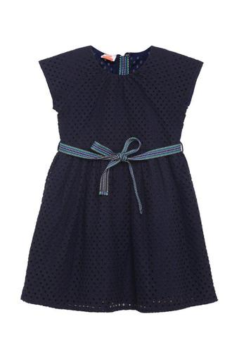 Girls Round Neck Perforated Flared Dress