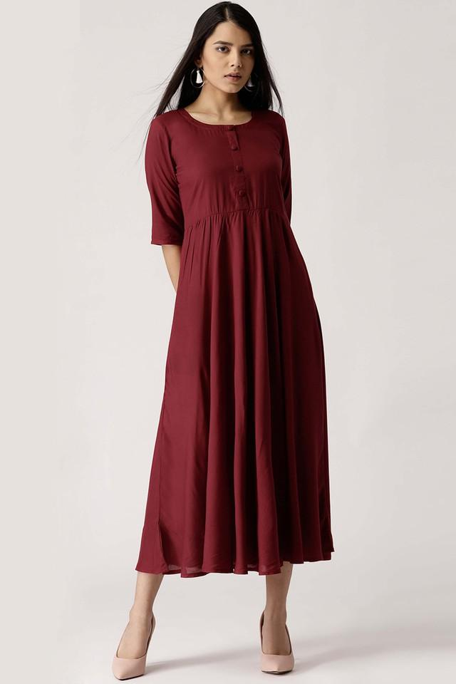 Womens Round Neck Solid Flared Dress