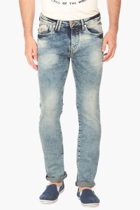 FLYING MACHINEMens Slim Fit Stone Wash Jeans (Micheal Fit)
