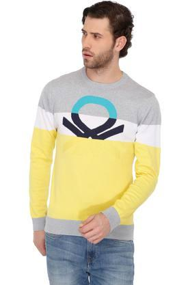 UNITED COLORS OF BENETTON Mens Round Neck Colour Block Sweatshirt