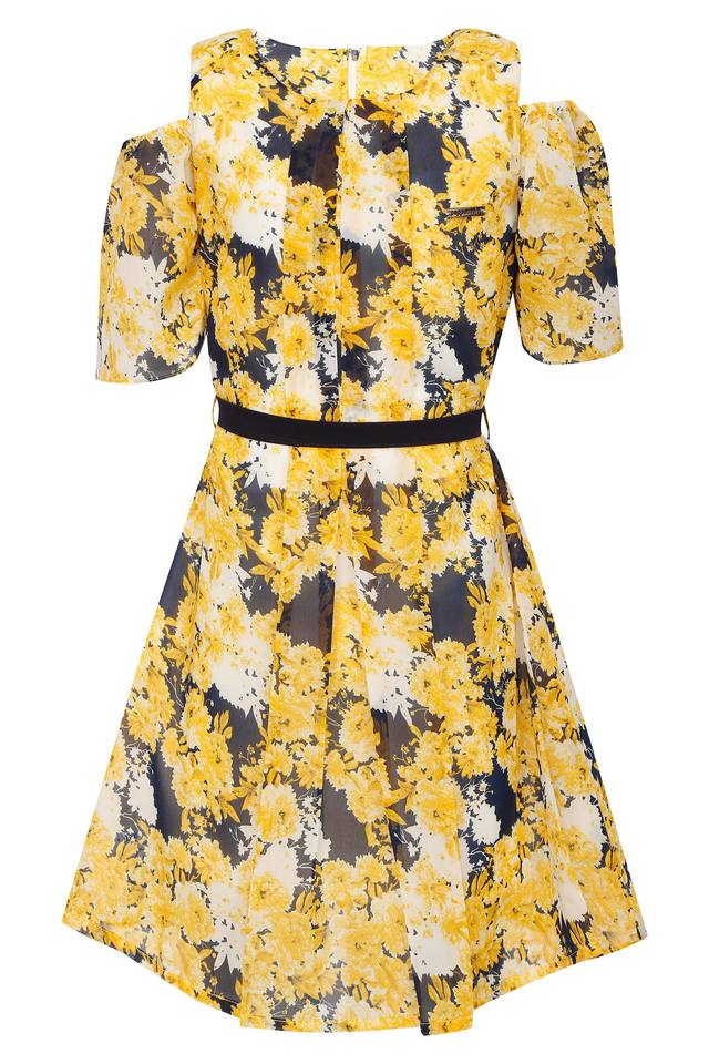 Girls Round Neck Printed Pleated Dress with Belt