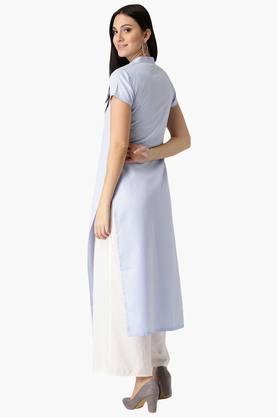 Womens Polyester Check Straight Kurta