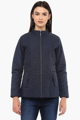 MONTE CARLOWomens Zip Through Neck Solid Jacket