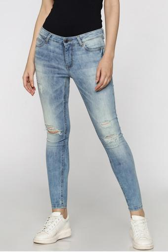 Womens Skinny Fit 5 Pocket Stone Wash Jeans