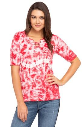 Womens Criss Cross Neck Tie Dye Top