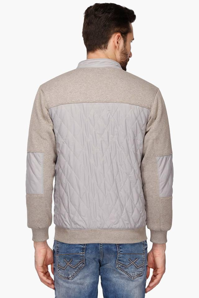 Mens Zip Through Neck Colour Block Sweatshirt