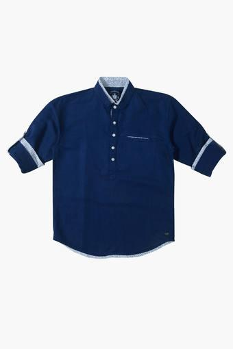 Boys Mandarin Neck Solid Shirt