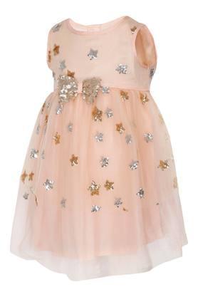Girls Round Neck Embellished Layered Dress