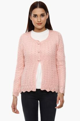 APSLEY Womens Round Neck Knitted Pattern Cardigan