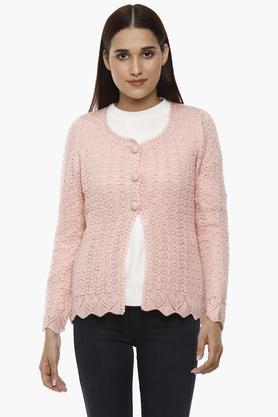 APSLEYWomens Round Neck Knitted Pattern Cardigan