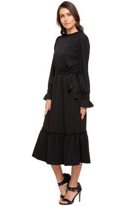 Womens Ruffled Collar Self Pattern Midi Dress