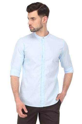 Mens Band Collar Striped Casual Shirt