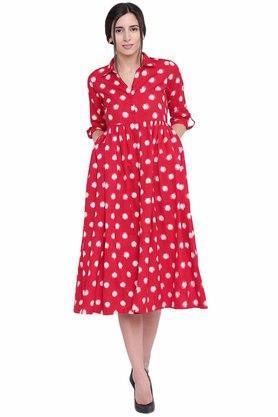 Womens Printed Flared Dress