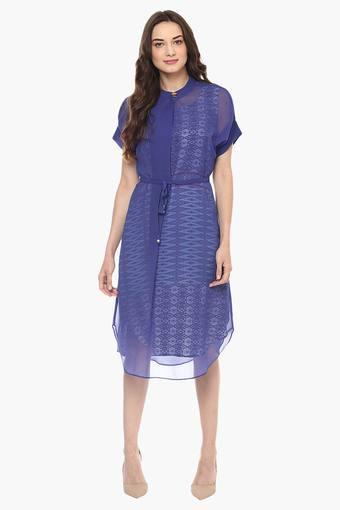 Womens Mandarin Neck Printed A-Line Dress