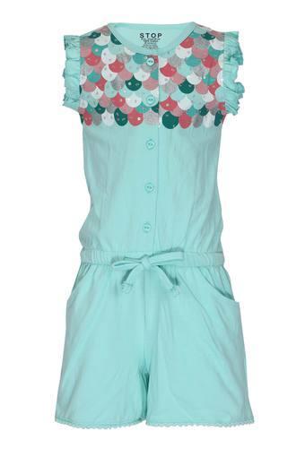 Girls Mandarin Neck Printed Embellished Jumpsuit