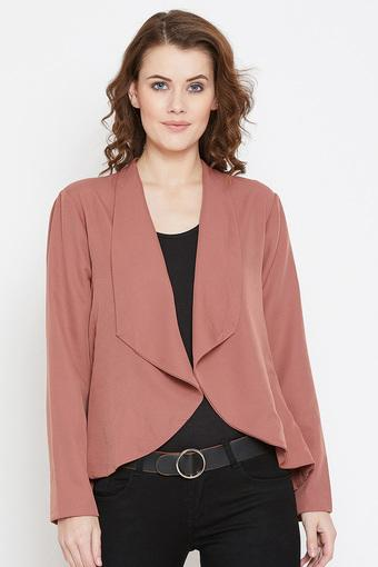 Womens Collared Open Front Solid Shrug