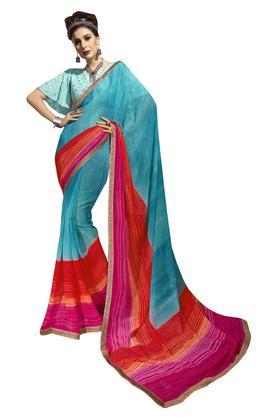 Womens Colour Block Saree with Blouse Piece