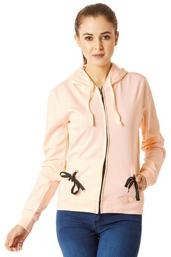 Womens Loose Fit Hooded Solid Sweatshirt
