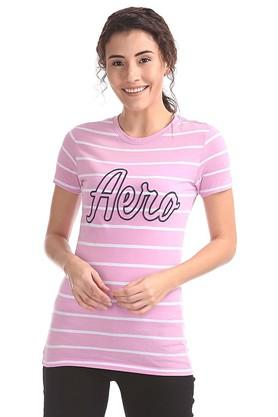 Womens Round Neck Stripe T-Shirt