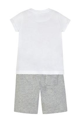Boys Round Neck Printed Top and Slub Pants