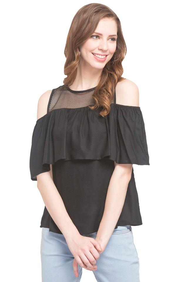 Womens Round Neck Sheer Yoke Solid Top