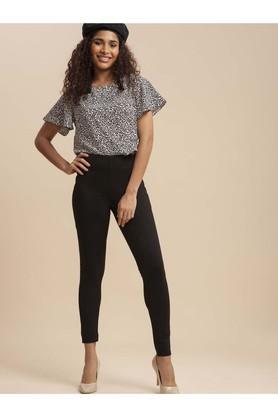 Womens Skinny Fit Solid Leggings