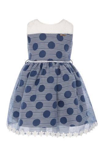 Girls Round Neck Dot Pattern Flared Dress with Belt