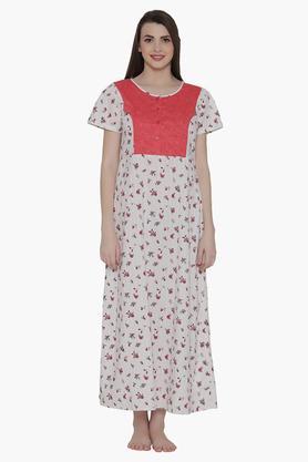 d2fe4e2830 X CLOVIA Maternity Printed Night Gown