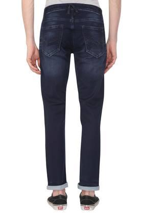 Mens Slim Fit 5 Pocket Whiskered Effect Jeans