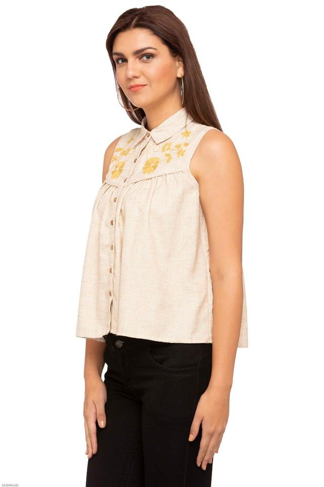 Womens Collared Printed Embroidered Shirt
