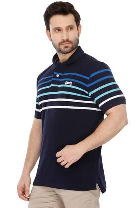 Mens Striped Casual Polo T-Shirt