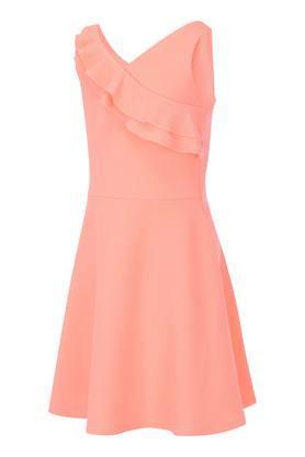 Girls Surplice Neck Solid A-Line Dress