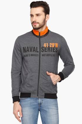 LIFEMens Zip Through Neck Slub Sweatshirt