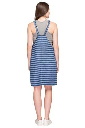 Womens Square Neck Stripe Pinafore Dress