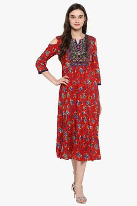 JUNIPER Womens Embroidered Floral Print Tiered Anarkali Kurta
