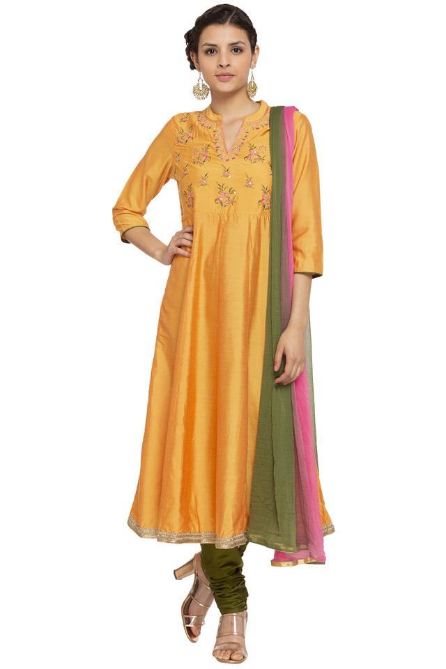Womens Mandarin Collar Solid Embroidered Churidar Suit