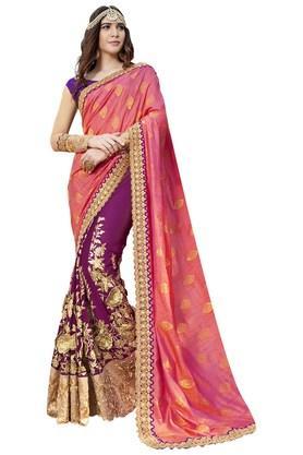 DEMARCAWomens Faux Georgette Art Silk Designer Saree