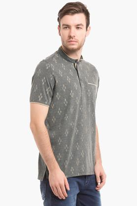 Mens Slim Fit Band Collar Printed T-Shirt