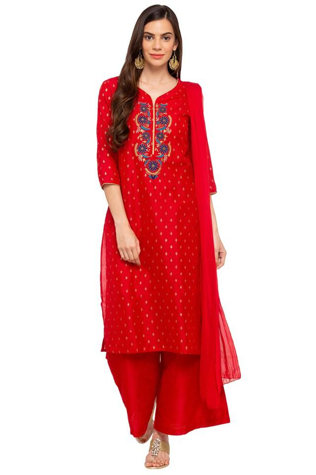 Womens V-Neck Embroidered Palazzo Suit
