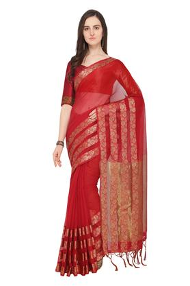 Womens Self Printed Saree with Blouse Piece