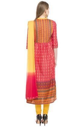 Womens Band Neck Printed Churidar Suit