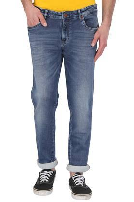 Mens 4 Pocket Whiskered Effect Jeans