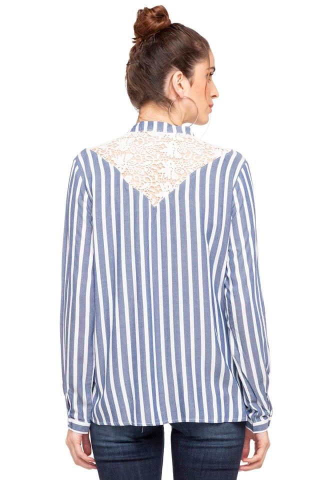 Womens Mandarin Collar Striped Shirt