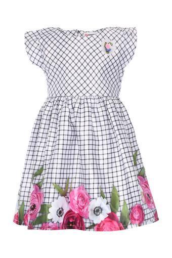 Girls Round Neck Checked Flared Dress