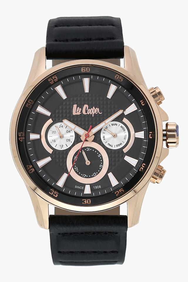 Mens Chronograph Black Dial Leather Watch - LC06540451