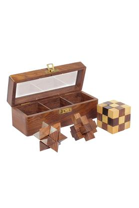 3 In 1 Puzzle Set Teen Paheli With Burr Star And Snake Cube Puzzle