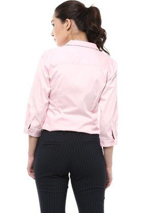 Womens Regular Fit Collared Solid Shirt