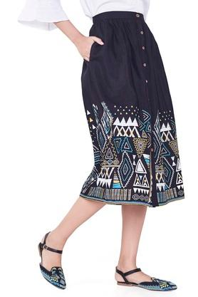 Womens 2 Pocket Printed Skirt